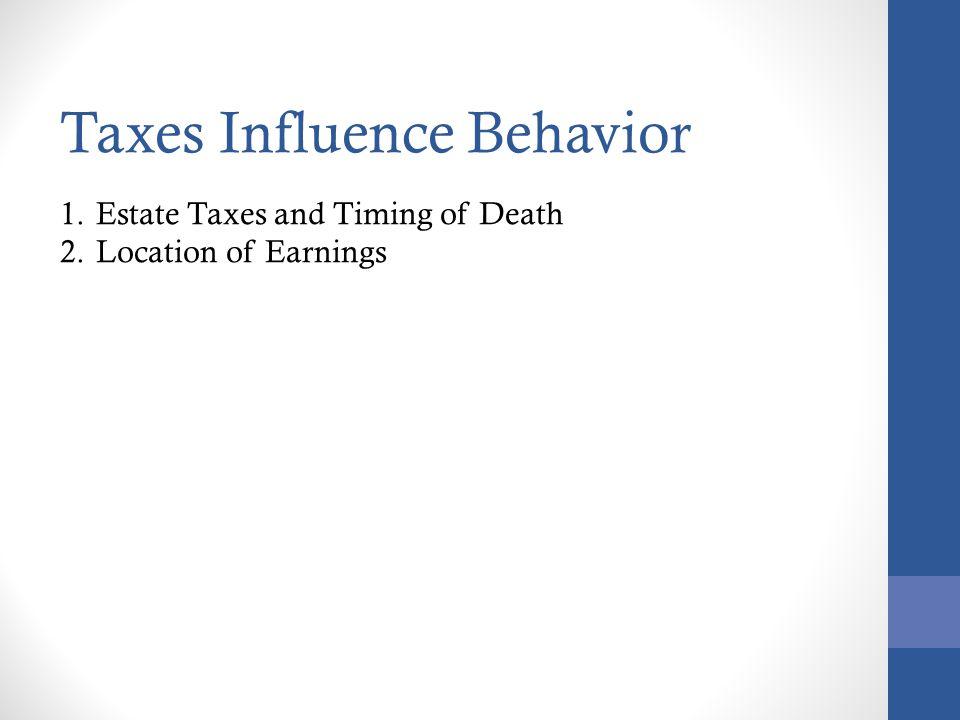 Taxes Influence Behavior
