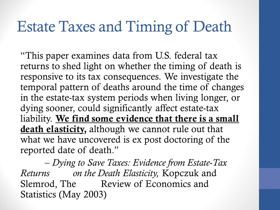 Estate Taxes and Timing of Death
