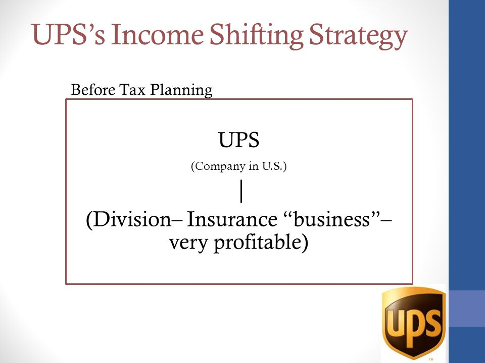 UPS's Income Shifting Strategy