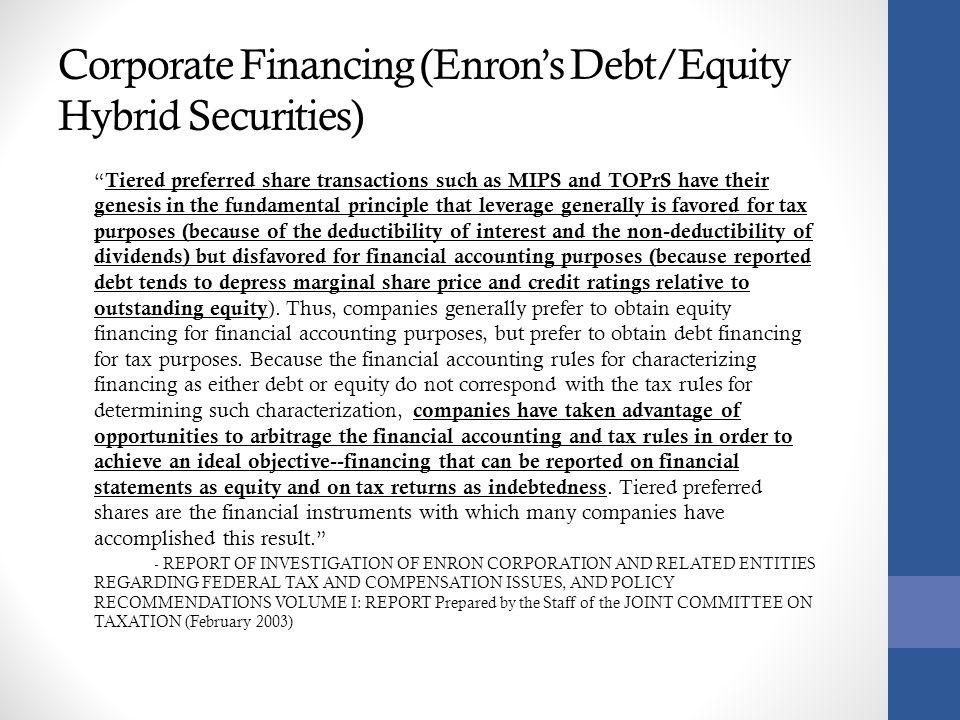 Corporate Financing (Enron's Debt/Equity Hybrid Securities)