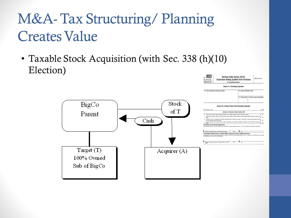 M&A- Tax Structuring/ Planning Creates Value