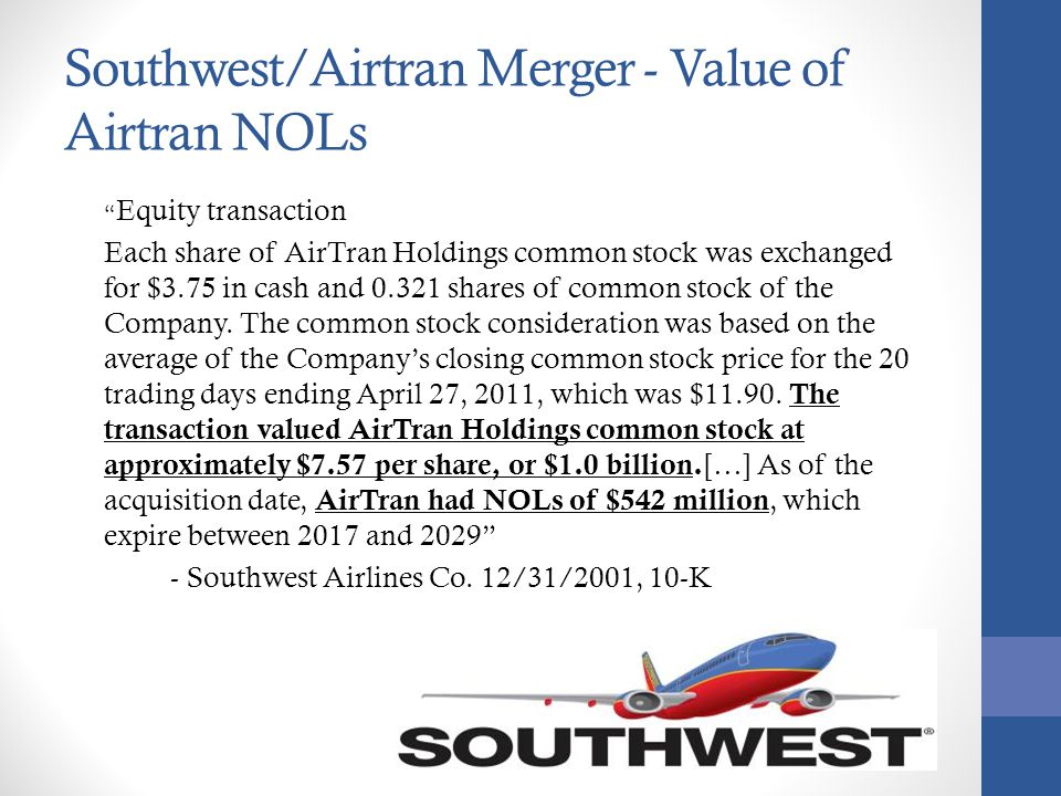 Southwest/Airtran Merger - Value of Airtran NOLs