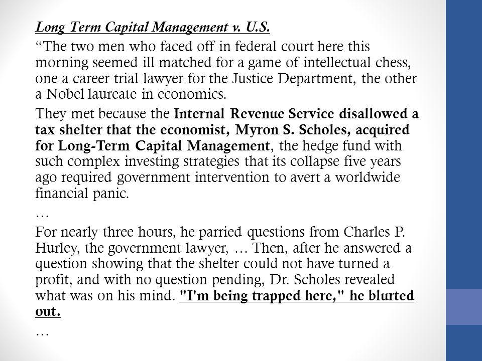 Long Term Capital Management v. U.S.