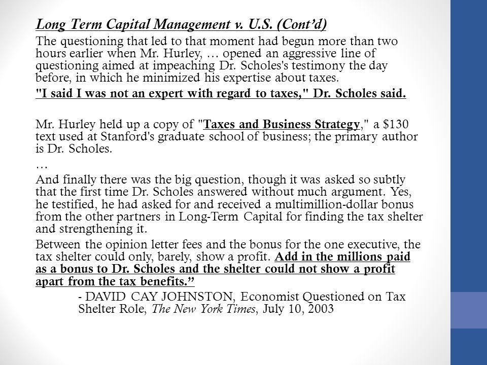 Long Term Capital Management v. U.S. (Cont'd)