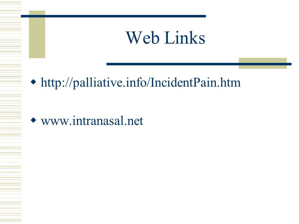 Web Links http://palliative.info/IncidentPain.htm www.intranasal.net