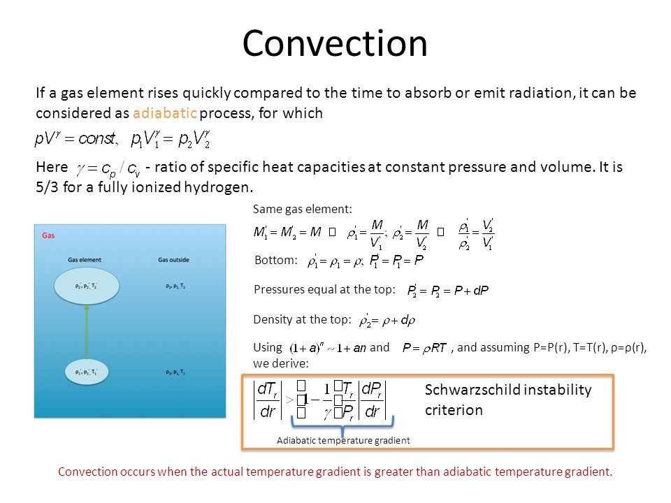 Convection If a gas element rises quickly compared to the time to absorb or emit radiation, it can be considered as adiabatic process, for which.