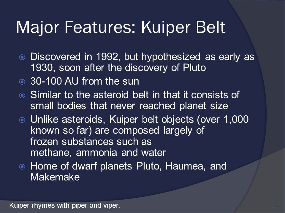 Major Features: Kuiper Belt