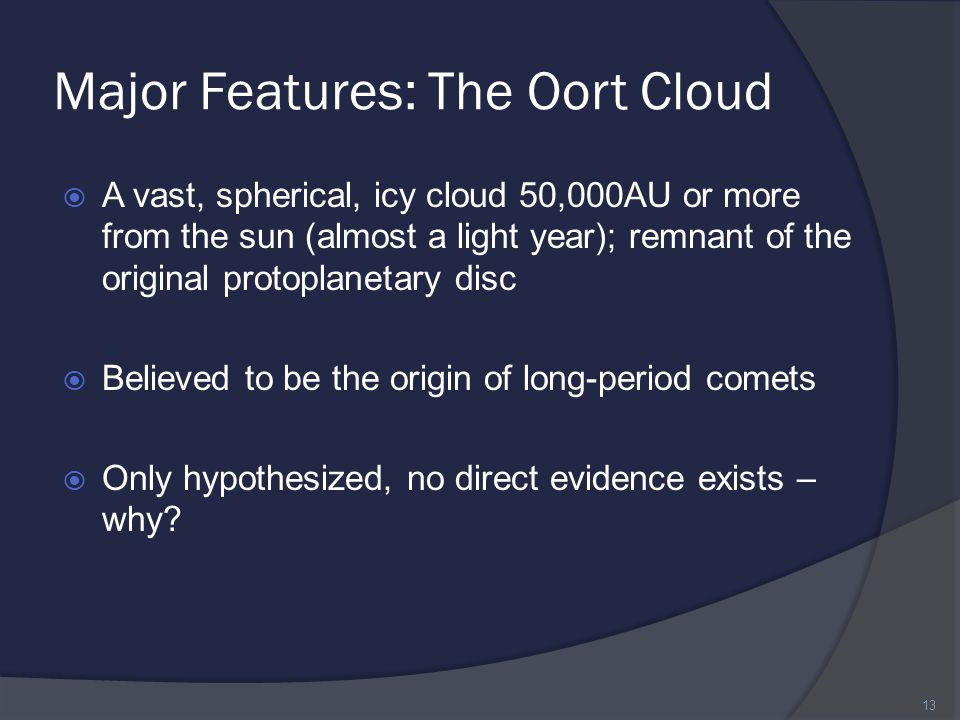 Major Features: The Oort Cloud