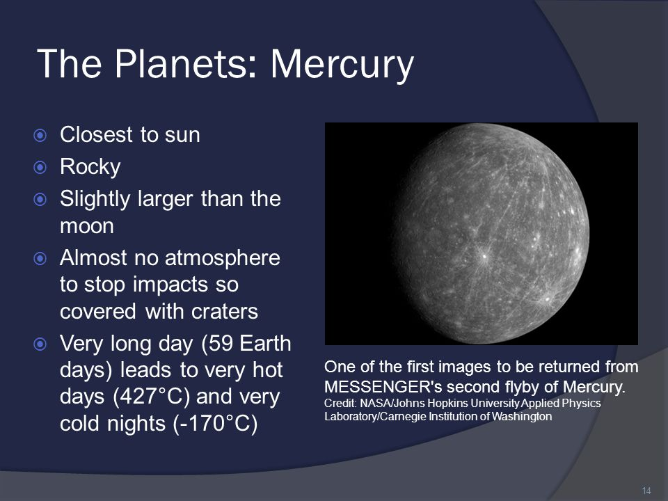 The Planets: Mercury Closest to sun Rocky