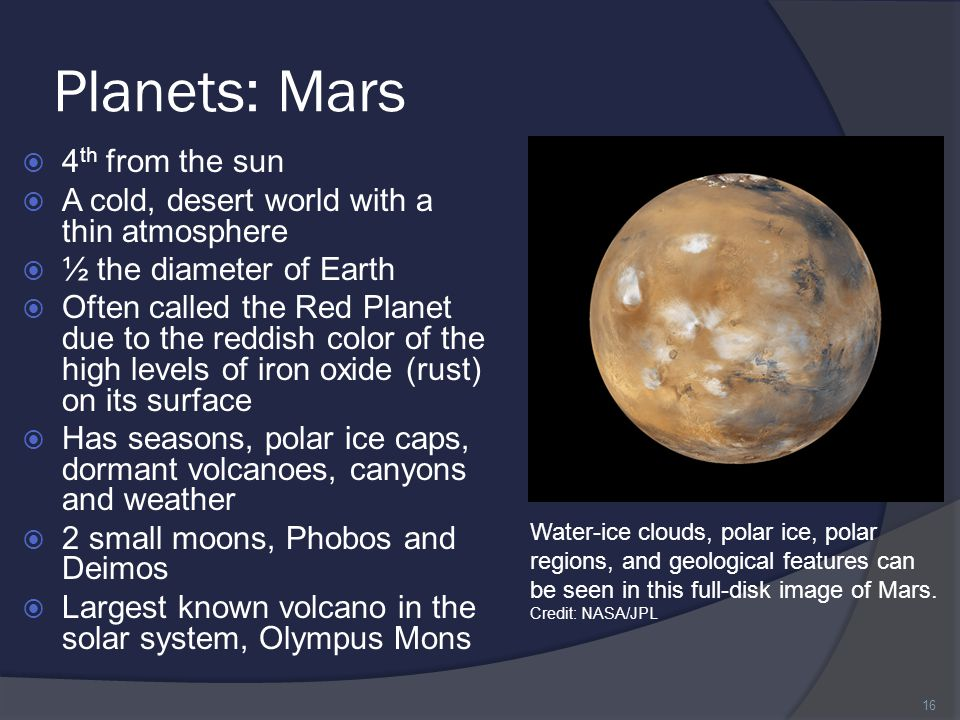 Planets: Mars 4th from the sun