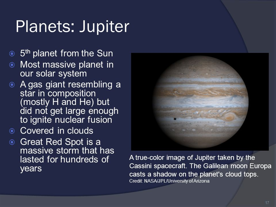 Planets: Jupiter 5th planet from the Sun