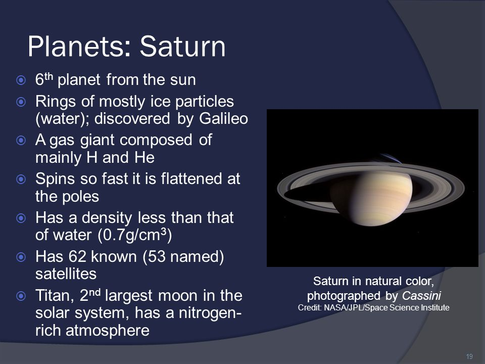 Planets: Saturn 6th planet from the sun