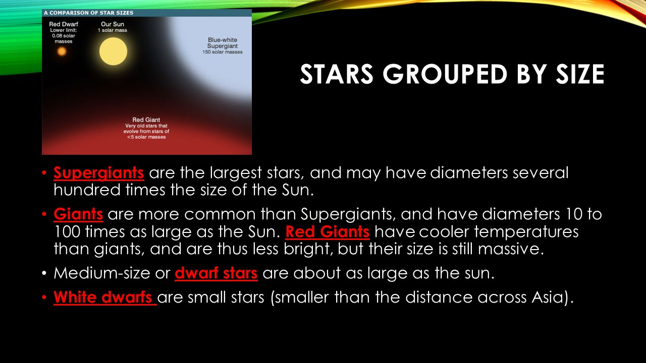 Stars Grouped by Size Supergiants are the largest stars, and may have diameters several hundred times the size of the Sun.