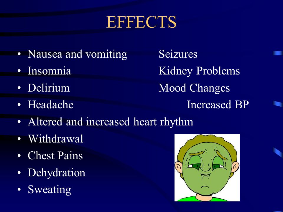 EFFECTS Nausea and vomiting Seizures Insomnia Kidney Problems
