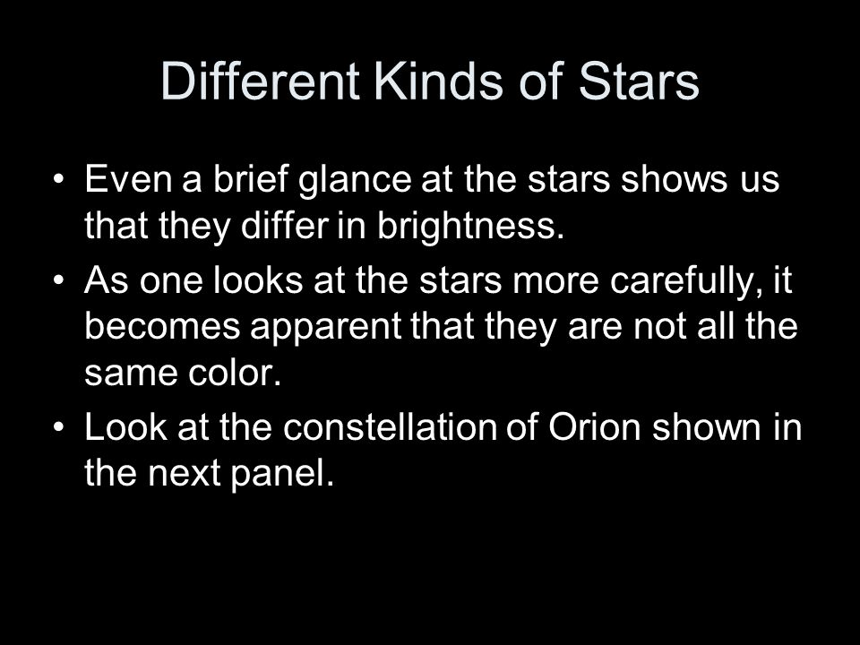 Different Kinds of Stars