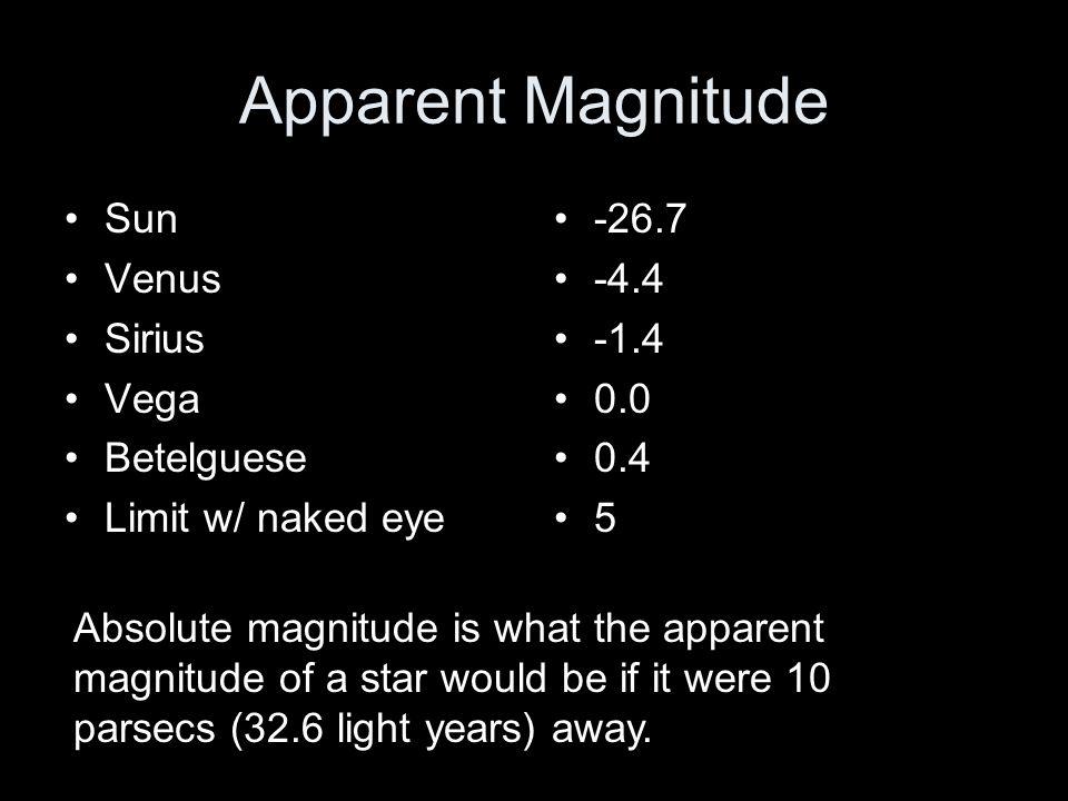 Apparent Magnitude Sun Venus Sirius Vega Betelguese Limit w/ naked eye