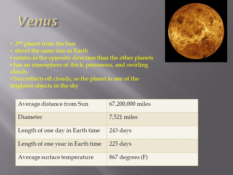Venus 2nd planet from the Sun about the same size as Earth