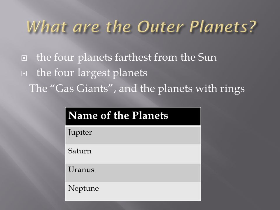 What are the Outer Planets