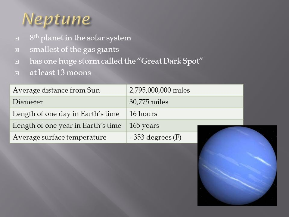 Neptune 8th planet in the solar system smallest of the gas giants