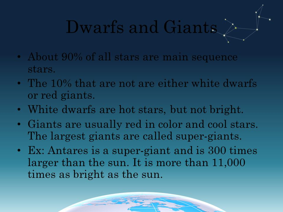 Dwarfs and Giants About 90% of all stars are main sequence stars.