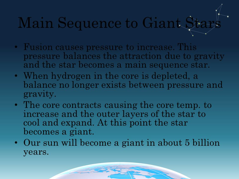 Main Sequence to Giant Stars