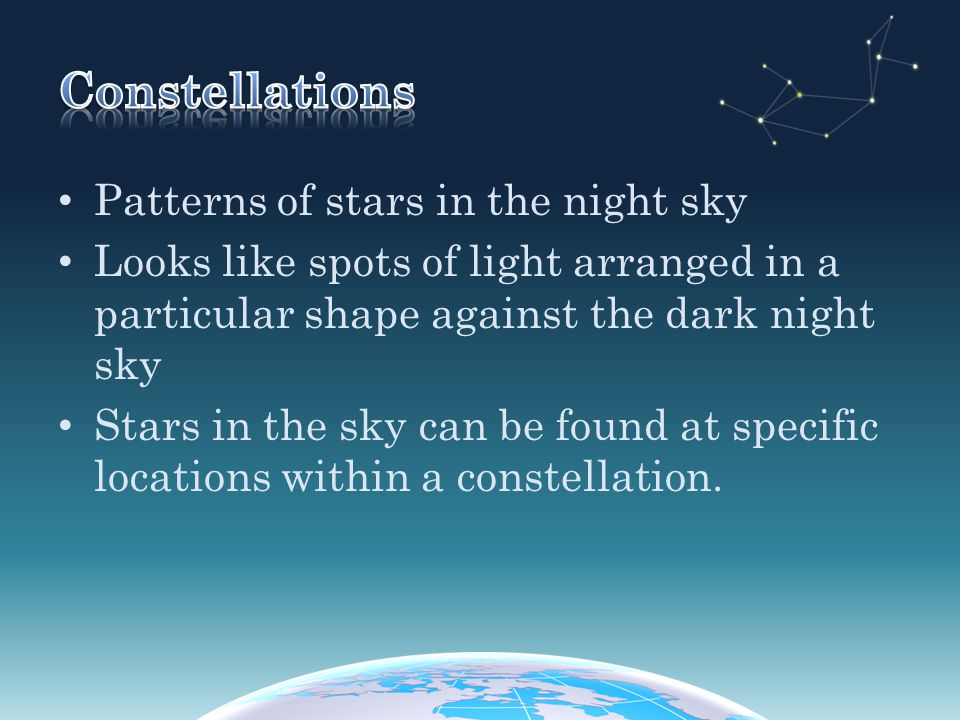 Constellations Patterns of stars in the night sky