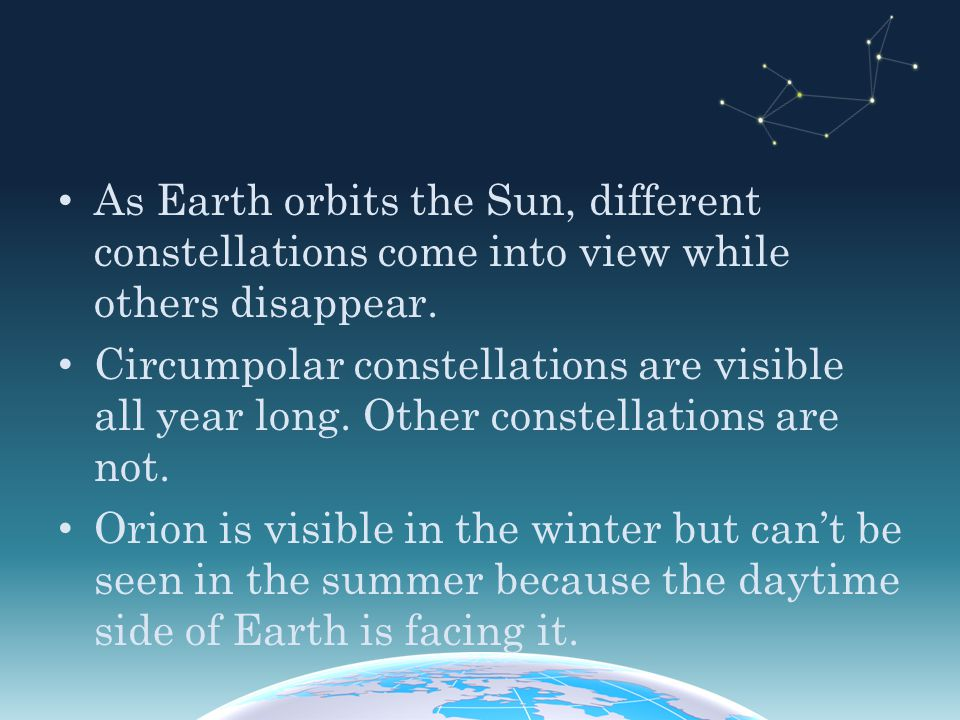 As Earth orbits the Sun, different constellations come into view while others disappear.