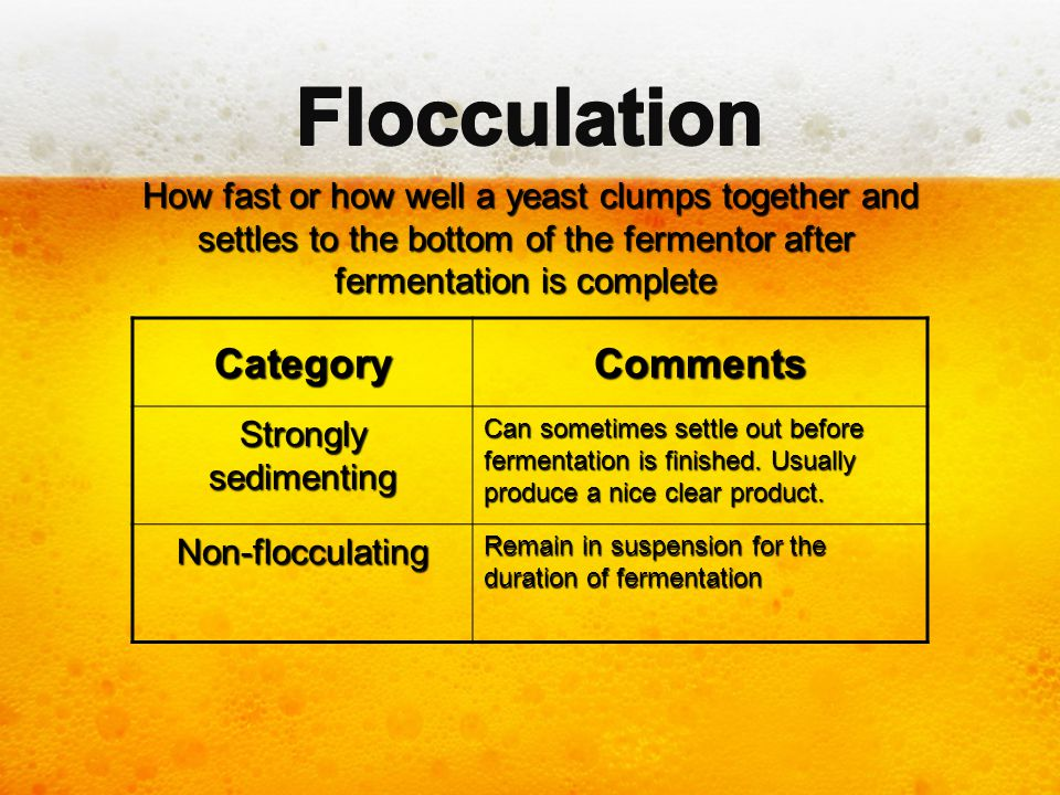 Flocculation Category Comments
