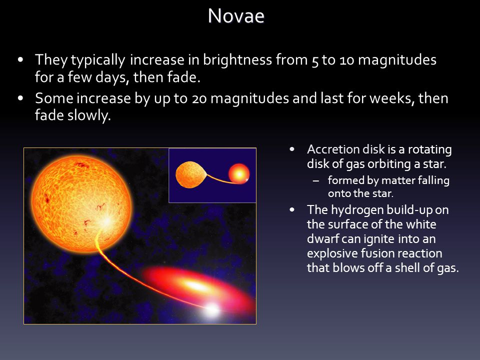 Novae They typically increase in brightness from 5 to 10 magnitudes for a few days, then fade.