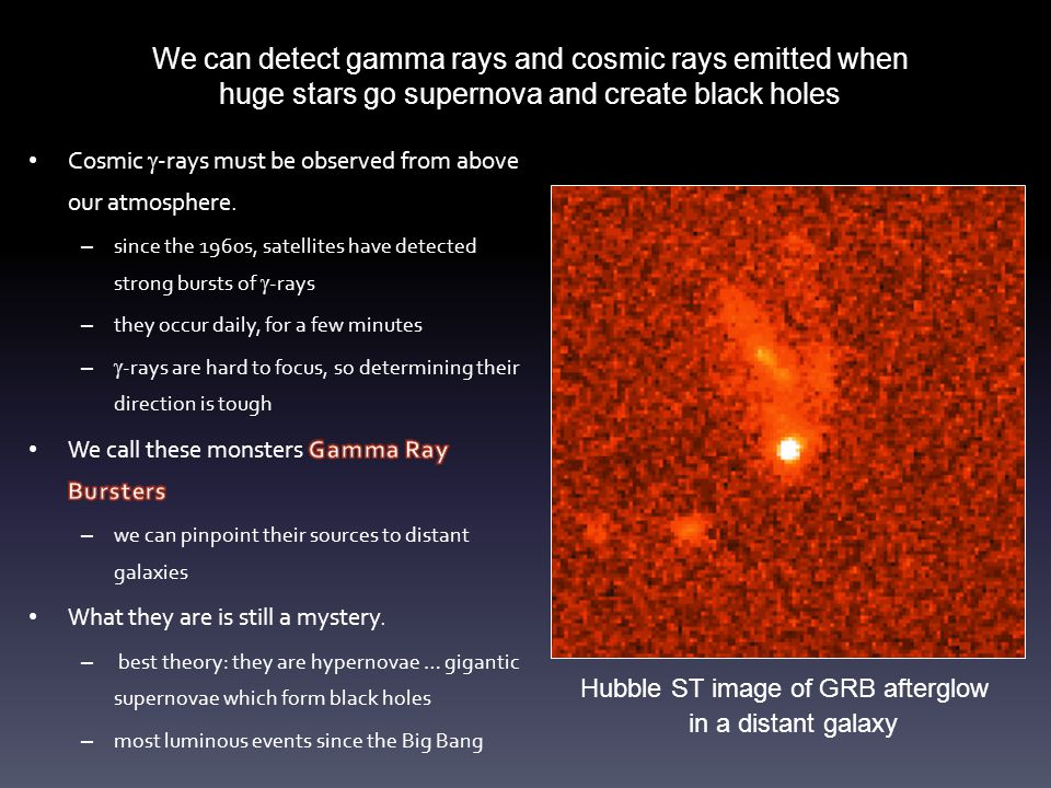 We can detect gamma rays and cosmic rays emitted when huge stars go supernova and create black holes