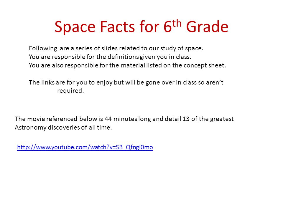 Space Facts for 6th Grade