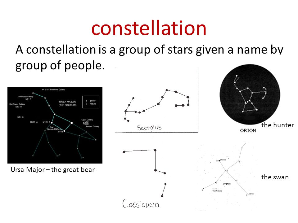 constellation A constellation is a group of stars given a name by group of people. the hunter. the scorpion.