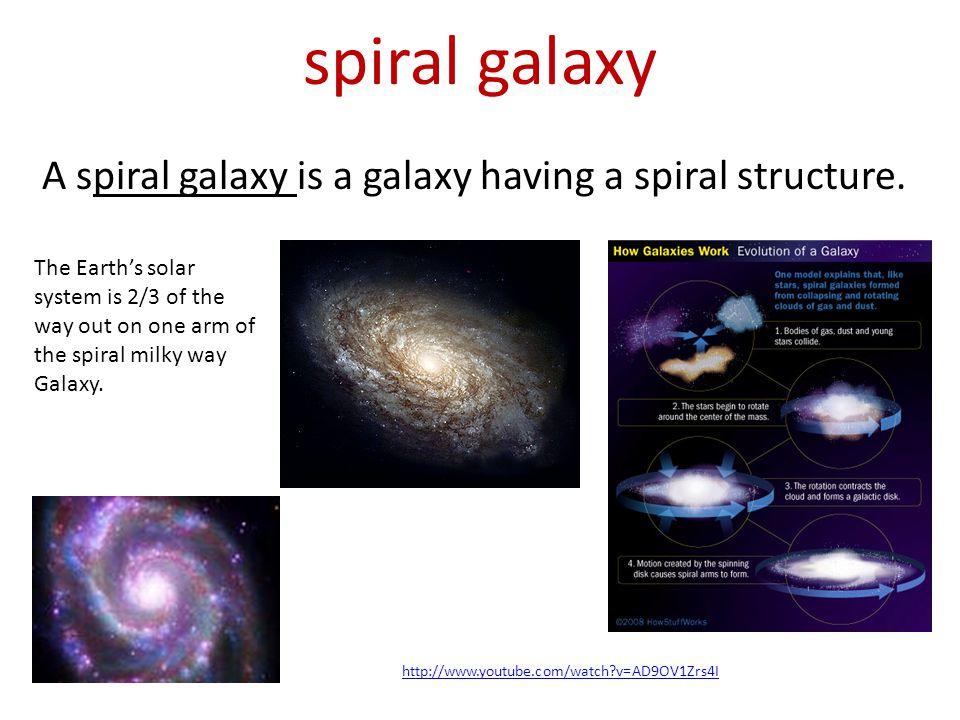 spiral galaxy A spiral galaxy is a galaxy having a spiral structure.