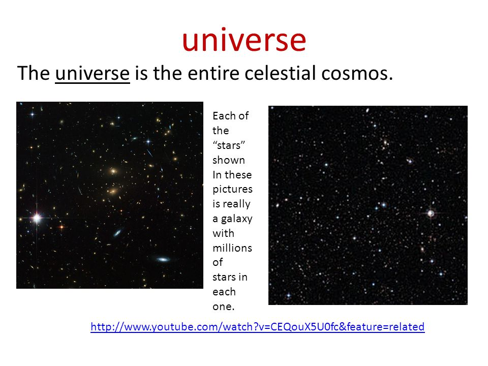 universe The universe is the entire celestial cosmos. Each of the