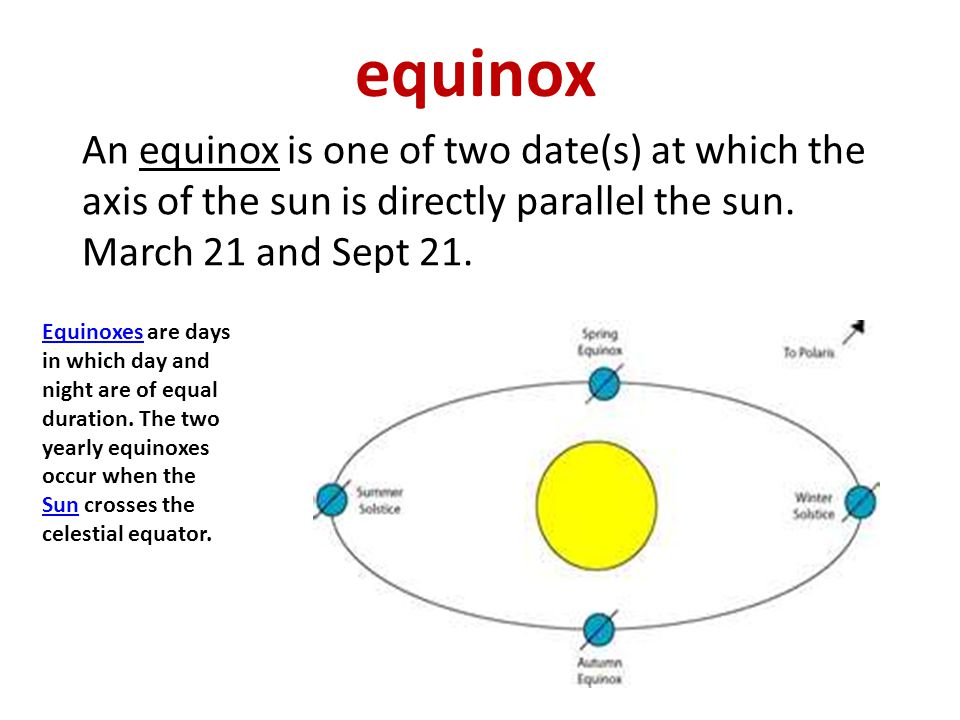 equinox An equinox is one of two date(s) at which the axis of the sun is directly parallel the sun. March 21 and Sept 21.