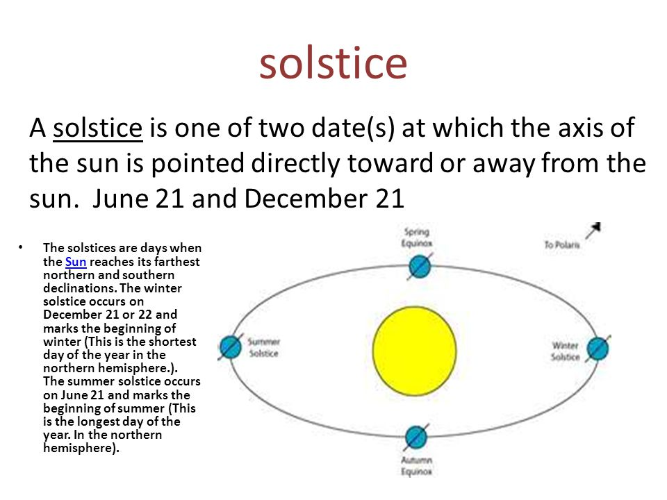 solstice A solstice is one of two date(s) at which the axis of the sun is pointed directly toward or away from the sun. June 21 and December 21.