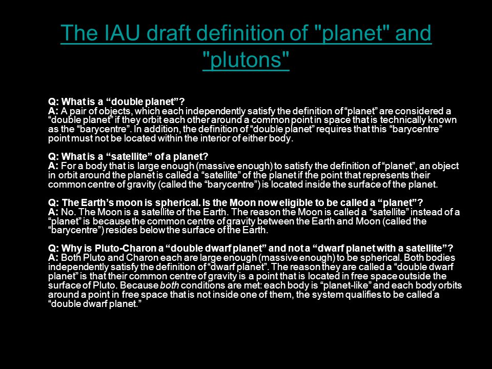 The IAU draft definition of planet and plutons