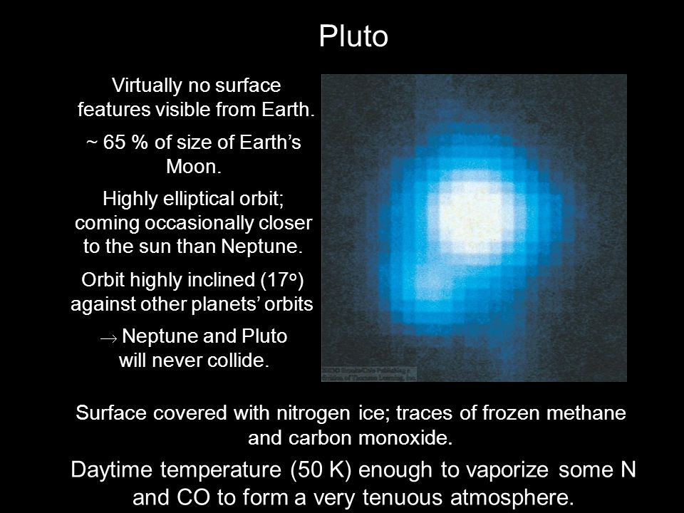 Pluto Virtually no surface features visible from Earth. ~ 65 % of size of Earth's Moon.