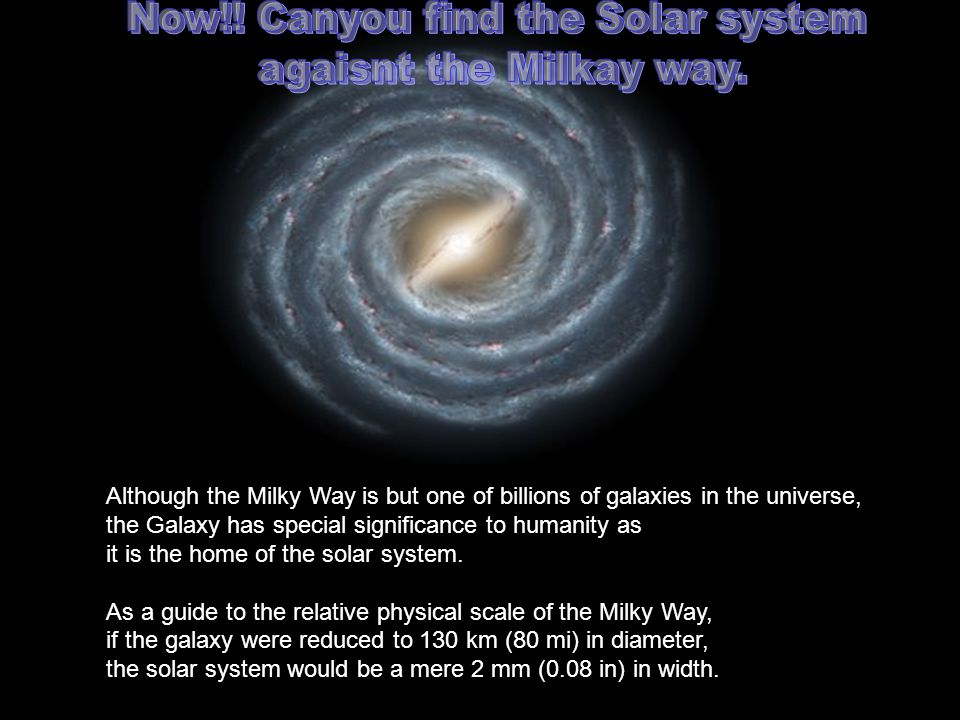 Now!! Canyou find the Solar system