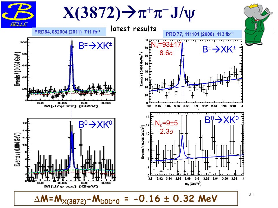 X(3872)p+p- J/y B±XK± B±XK± B0XK0 B0XK0