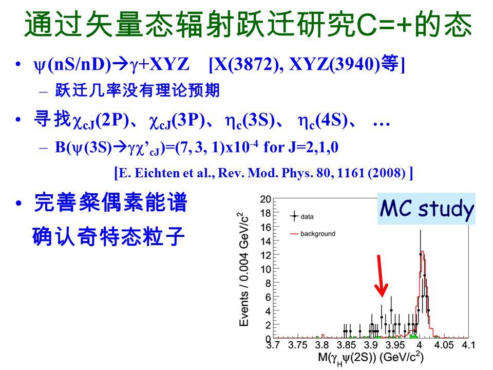 通过矢量态辐射跃迁研究C=+的态 完善粲偶素能谱 确认奇特态粒子 MC study
