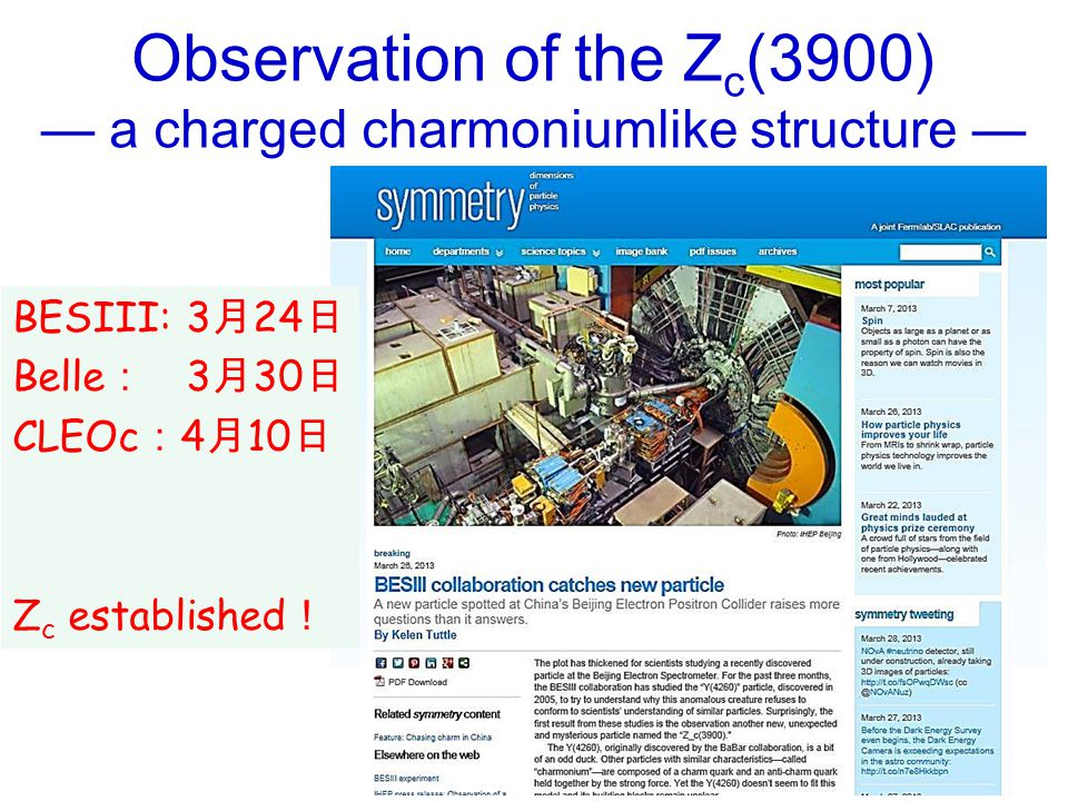 Observation of the Zc(3900) — a charged charmoniumlike structure —