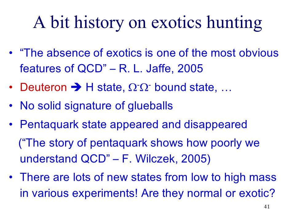 A bit history on exotics hunting