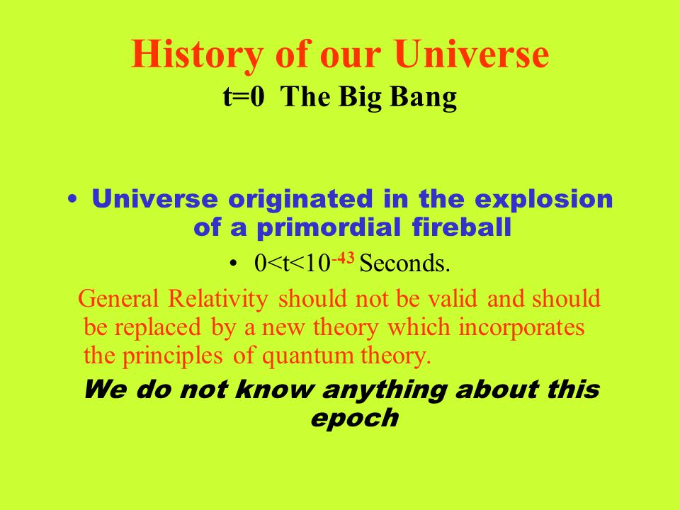 History of our Universe t=0 The Big Bang