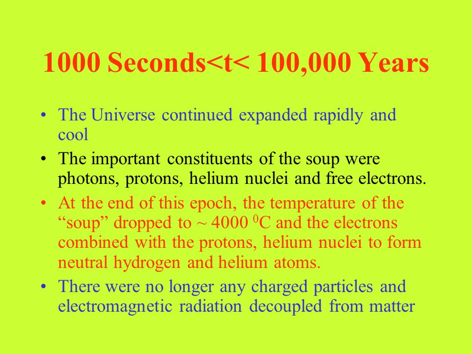 1000 Seconds<t< 100,000 Years
