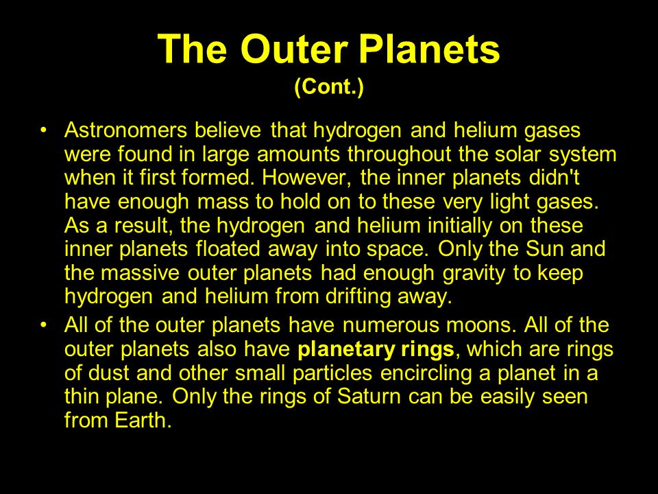 The Outer Planets (Cont.)