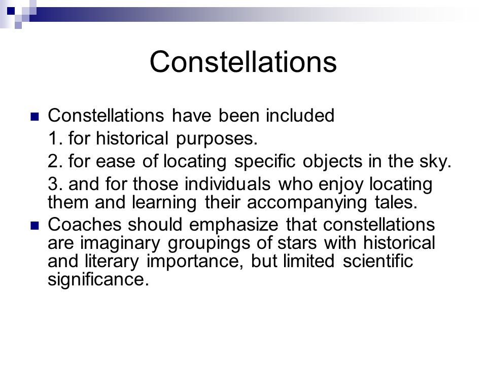 Constellations Constellations have been included