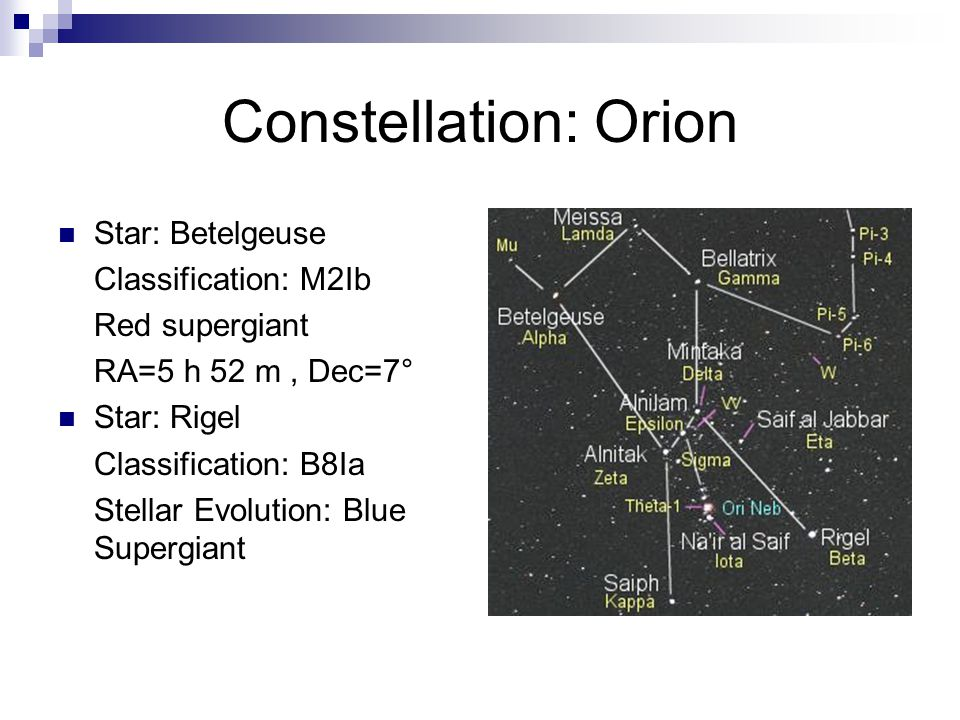 Constellation: Orion Star: Betelgeuse Classification: M2Ib