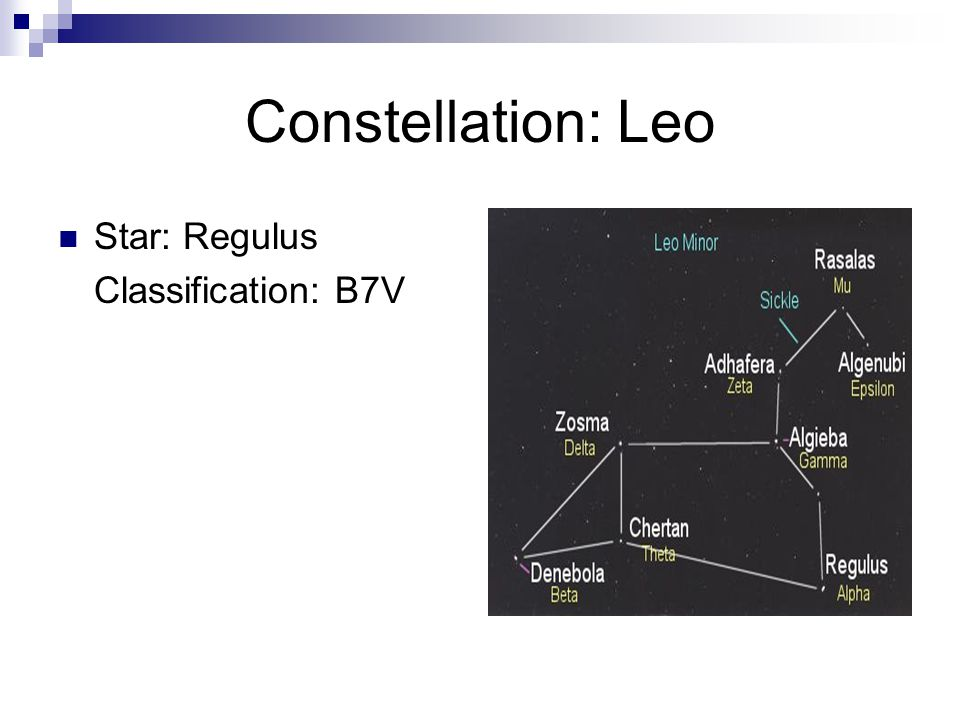 Constellation: Leo Star: Regulus Classification: B7V