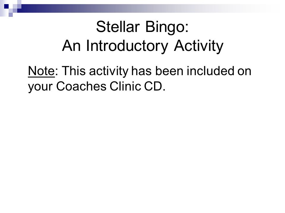 Stellar Bingo: An Introductory Activity
